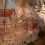 Tsodilo Hills. Looking past rock paintings and along cliff face.Image ID: bottsd0310003