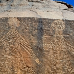 Ennedi plateau. Section of panel, with large decorated figures (women?).Image ID: chaenp0010038