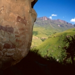 Ancestral San paintings of eland and humans at a rock shelter in Ndedema Gorge, Drakensberg, SOADRB0050007