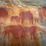 Close-up of elephant paintings from previous image, SOASWC0070017
