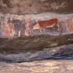 Drakensberg, South Africa. Major painted panel in shelter's left area. Known sometimes as Bushman Rock Art's 'Rosetta Stone', this panel helped David Lewis-Williams in 1970s to formulate early 'understanding' of the art's imagery. Image ID: soadrb0080014