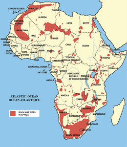 Rock Art In Africa Distribution Map