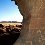Ennedi Plateau. Engraving of a decorated bull. Image ID: chaenp0010166