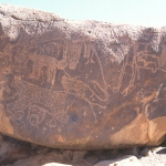 Tibesti Mountains. Large sandstone boulder with numerous pecked engravings. Pecked outline engravings of four predators (leopards?) with dot-peck decoration. Image ID: chatim0010002