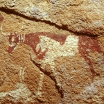 Wadi el Firaq. Detail of cow facing left with three white bands (collars?) around its neck. Image ID: egywef0010006