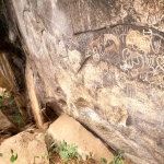 Mount Elgon. Oblique view of paintings in shelter. Floor of left shelter, suitable for habitation, is visible in background. Kakapel. Image ID: kenmte0010002