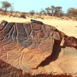 Messak. Broken piece of boulder with engravings of mythical humans fallen from cliff above. Example of fragility of site. Image ID: libmes0170043