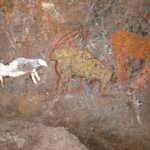 Polychrome paintings of several animals including a powerful eland with 2 horns centre and an elephant on the right, SOANTC0060004