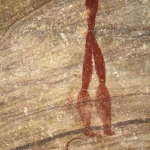Close-up of painted human figure. He is apparently extraordinarily tall and has large calves. Possible flywhisk such as is used in San healing trance dances lies at his feet, SOASWC0020009