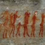 Painting showing a line of mixed-gender and mixed age human figures walking right, SOASWC0130105