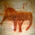 Painting of an elephant. Above elephant smaller human and animal figures are shown, SOASWC0130118