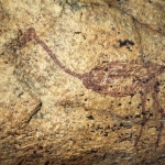 Maroon ostrich painting in Mashonaland, Zimbabwe. Body and legs infilled with maroon pigment. Image ID: zimmsl0050011